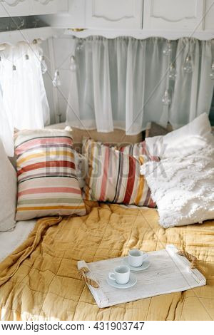 Bedroom Interior, Bed With Colorful Pillow, Tray At Cozy Home. Comfortable Room Of Camper Van, Indoo