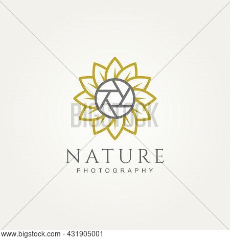 Simple Modern Nature Photography With Sunflower And Shutter Minimalist Line Art Logo Icon Template V