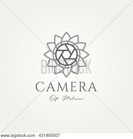 Photography Logo With Sunflower And Shutter Minimalist Line Art Icon Template Vector Illustration De