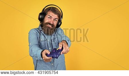 Play Hard. Hobby. Just Have Fun. New Technology In Modern Life. Happy Gamer Play Computer Games. Man