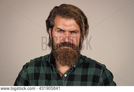 Hair Beauty And Fashion. Mature Charismatic Male. Guy With Beard And Moustache. Confidence And Chari