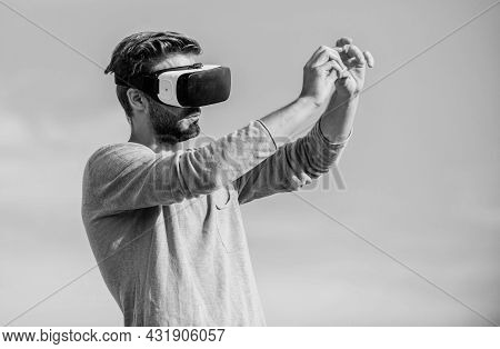 Virtual Reality Goggles. Designer Or Engineer. Designing 3d Objects. Educational Futuristic Program.