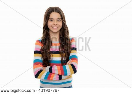 Confident Girl Child In Striped Sweater Smile Keeping Arms Crossed Isolated On White, Confidence