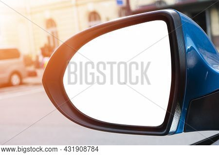 Blank Empty Screen Rearview Car Mirror. Blank Rear View Mirror With A Clipping Path. Empty Space For