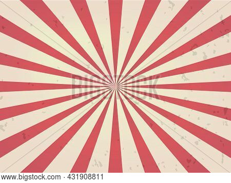 Red Vintage Starburst Background. Rising Sun Design Vector Illustration