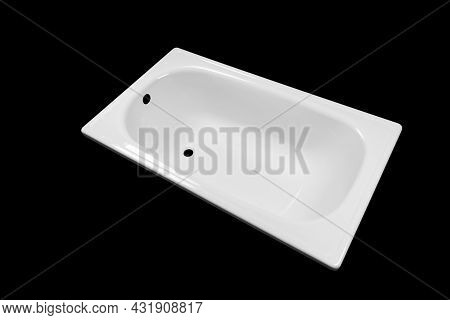 Bathtub Isolated On Black Background. Empty Bathtub Isolated. White Bath Tub Texture Background Over