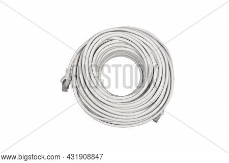 Internet Data Cable Isolated On White Background. Lan Cable Patch Cord. Network Internet Cable Isola
