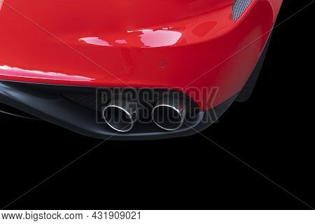 Close Up Of A Car Dual Exhaust Pipe. Double Exhaust Pipes Of A Red Modern Sports Car. Car Exterior D