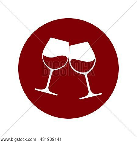 Clink Glasses Graphic Icon. Cheers With Two Glasses With Wine Sign In The Circle Isolated On White B
