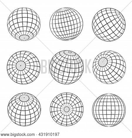 Collection Of Globe Grid Vector Illustration Striped 3d Spheres Earth Latitude And Longitude Line