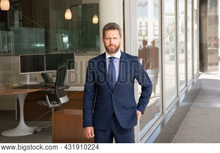 Business Success. Successful Man In Businesslike Suit. Manager. Male Formal Fashion
