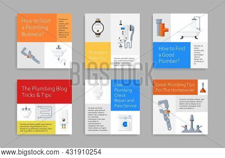 Set Plumbing Service Squared Poster Vector Illustration. Collection Of Plumber Housework Maintenance
