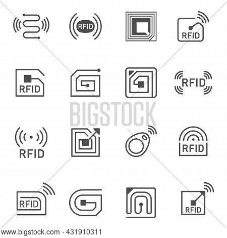 Collection Of Simple Radio Frequency Identification Icon Vector Illustration