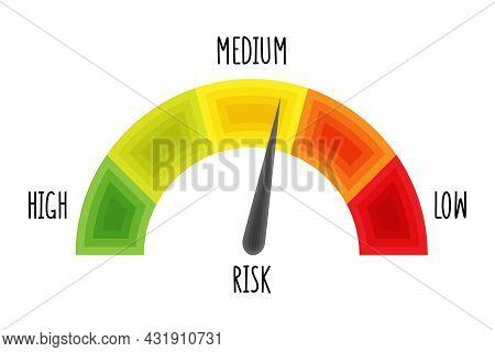 Scale Level Measurement Monitor Display. Medium Risk Speedometer. Risk Control Concept Presentation.