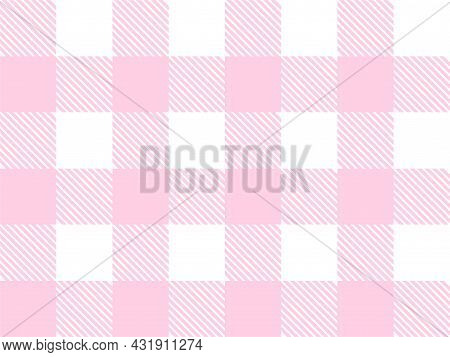 Pink And White Lumberjack Plaid Seamless Pattern. Scottish Cage. Simple Vintage Textile Design. Tart