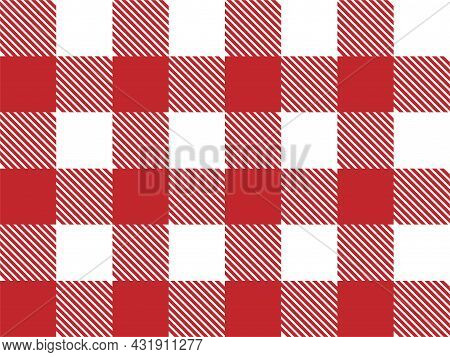 Red And White Lumberjack Plaid Seamless Pattern. Scottish Cage. Simple Vintage Textile Design. Tarta