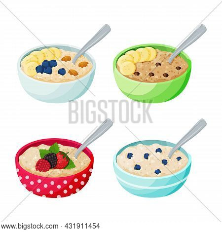 Cartoon Bowl With Porridge Set. Oatmeal And Cereal With Berries, Fruits, Chocolate Drops And Nuts.