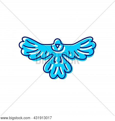 Magpie Bird Flat Icon. Taiwanese Endemic Animal. Oriental Custom. Asian Item. Color Filled Symbol. I