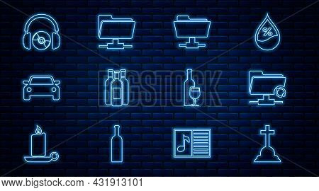 Set Line Tombstone With Cross, Ftp Sync Refresh, Folder, Bottles Of Wine, Car, Headphones And Cd Or