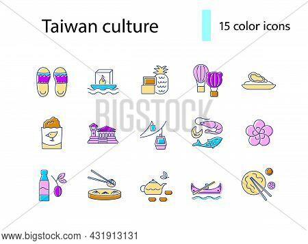 Taiwan Flat Icons Set. Taiwanese Famous Buildings. Buddha, Pagoda And Bridge. Color Filled Symbol. I