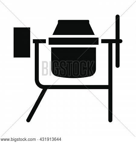 Icon Of Concrete Mixer. Black Stencil Design. Vector Illustration.