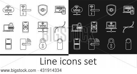 Set Line Please Do Not Disturb, Bezier Curve, Shield And Eye, Mobile Scan, Laptop With Password, Vpn