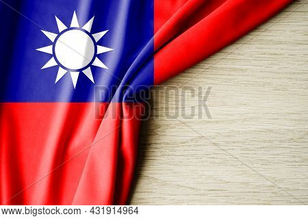 Taiwan Flag. Fabric Pattern Flag Of Taiwan. 3d Illustration. With Back Space For Text. Close-up View