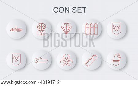 Set Line Hand Grenade, Chevron, Parachute, Bullet, Submarine, With First Aid Kit, And Biohazard Symb