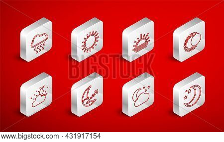 Set Line Moon And Stars, Sun, Sunset, Eclipse Of The Sun, Cloud With Moon, Rain, Icon And Icon. Vect