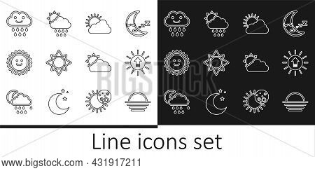 Set Line Sunset, And Cloud Weather, Cloud With Rain, And Sun Icon. Vector