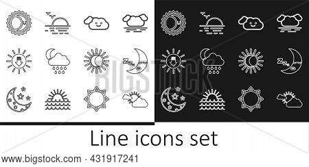 Set Line Sun And Cloud Weather, Moon Icon, Cloud, With Rain Moon, Sunset, Eclipse Of Sun, And Icon.