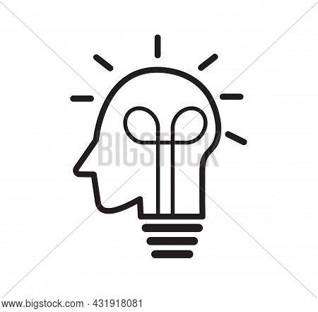 Human Head Creating Idea. Lightbulb Line Icon. Creative Idea And Inspiration Concept. Vector Illustr