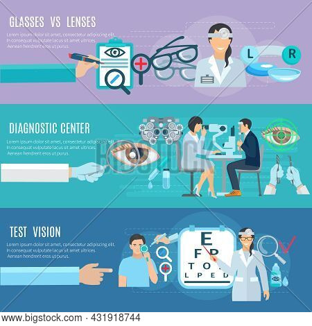 Ophthalmologist Oculist Diagnostic And Treatment Center Long Hands 3 Flat Horizontal Banners Set Abs