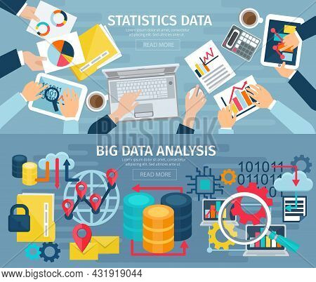 Big Data Analysis And Database Statistic Systems 2 Flat Banners With Computers Laptops Abstract Isol