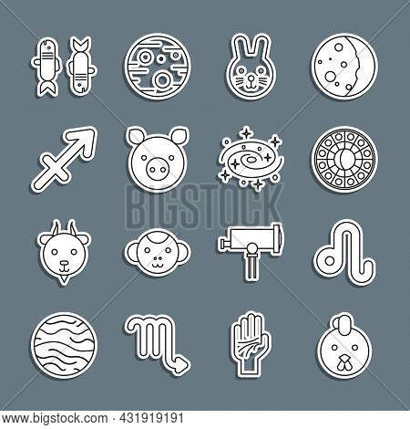 Set Line Rooster Zodiac, Leo, Astrology Horoscope Circle, Rabbit, Pig, Sagittarius, Pisces And Milky