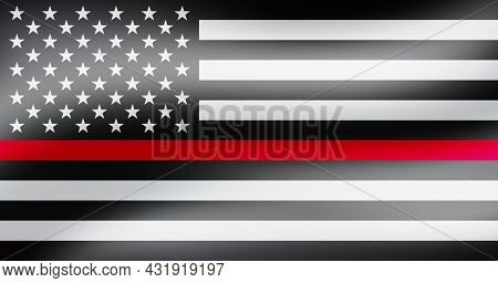 Thin Red Line Firefighter Flag. Usa Flag. Remembering, Memories On Fallen Fire Fighters Officers On