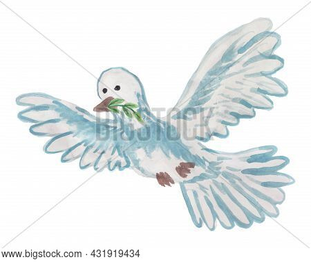 Vector Illustration Of A Flying Dove With A Twig In Its Beak. Cartoon Freehand Drawing Of A Bird Wit