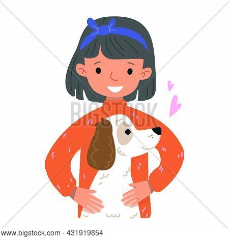 Cute Cartoon Girl In An Orange Sweater And A White Dog. Funny Stylized Retriever. Vector Illustratio