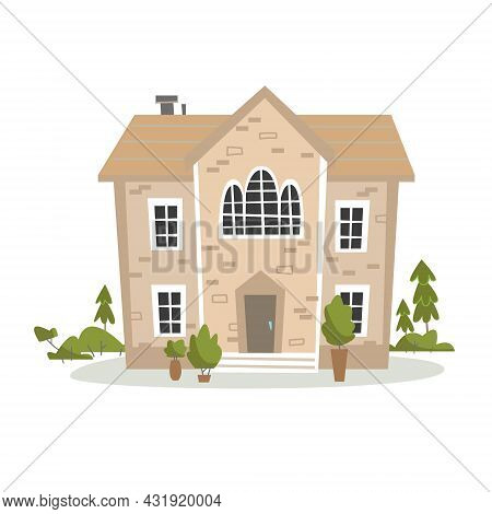 An Antique Beige House In A Classic Style Surrounded By Trees And A Park. Vector Cartoon Illustratio