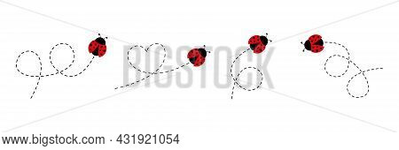 Cute Ladybug Icon Set. Ladybugs Flying On Dotted Route. Cartoon Ladybirds With Open Wings. Vector Is