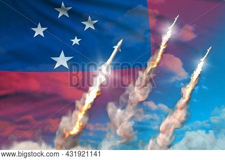 Modern Strategic Rocket Forces Concept On Blue Sky Background, Samoa Ballistic Missile Attack - Mili