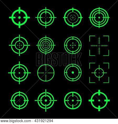 Target Destination Icon Set. Green Aiming Marks Sniper Shoot Group. Crosshair Of Sniper. Focus Curso