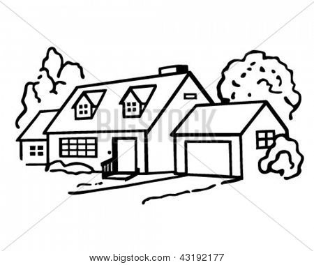 Lovely Home - Retro Clip Art Illustration