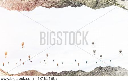 Abstract Image Of Two Nature Worlds Located Upside Down To Each Other With Flying Aerostats On Sky B
