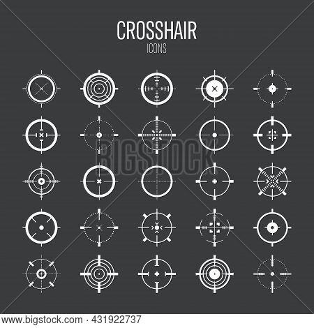 Crosshair, Gun Sight Vector Icons. Bullseye, Target Or Aim Symbol. Military Rifle Scope, Shooting Ma