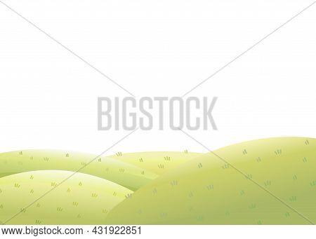 Round Rural Pasture Hills. Farm Cute Landscape. Funny Cartoon Design Illustration. Flat Style. Isola