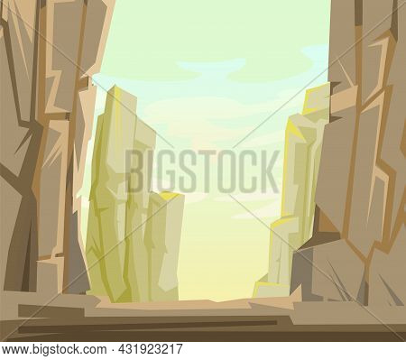 Rocky Mountain Gorge. Stone Rocky Bacground Landscape. High Peaks And Cliffs. Sky With Clouds. Illus