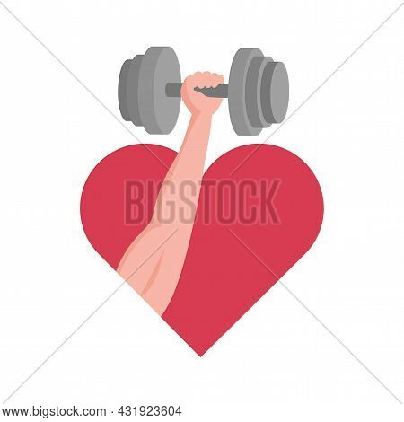 Hand With Muscles Holding Dumbbell On The Background Of Red Heart Vector Flat Illustration. Fun Of S