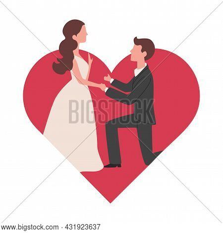 Man Makes Marriage Proposal To His Girlfriend Vector Flat Illustration On The Background Of Big Red