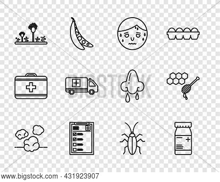 Set Line Dust, Medicine Bottle And Pills, Man With Excessive Sweating, Clinical Record, Mold, Emerge